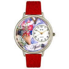 Unisex April Red Leather and Silvertone Watch in Silver