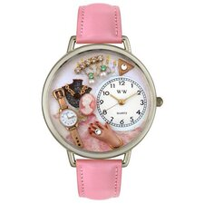 Unisex Jewelry Lover Pink Leather and Silvertone Watch in Silver