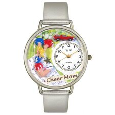 <strong>Whimsical Watches</strong> Unisex Cheer Mom Gold Leather and Silvertone Watch in Silver