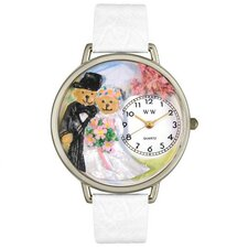 Unisex Teddy Bear Wedding White Leather and Silvertone Watch in Silver
