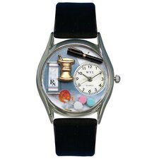 "Women""s Pharmacist Black Leather and Silvertone Watch in Silver"