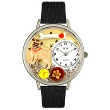 Unisex Pug Black Skin Leather and Silvertone Watch in Silver