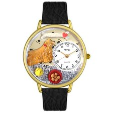 Unisex Cocker Spaniel Black Skin Leather and Goldtone Watch in Gold