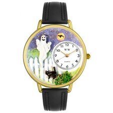 Unisex Halloween Ghost Black Skin Leather and Goldtone Watch in Gold