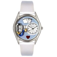 "Women""s Nurse White Leather and Silvertone Watch in Silver"