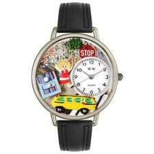 <strong>Whimsical Watches</strong> Unisex School Bus Driver Black Skin Leather and Silvertone Watch in Silver