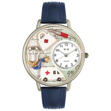 Unisex EMT Navy Blue Leather and Silvertone Watch in Silver