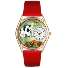 <strong>Whimsical Watches</strong> Women's Cow Black Leather and Gold Tone Watch