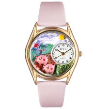 Women's Pigs Pink Leather and Gold Tone Watch
