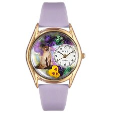 <strong>Whimsical Watches</strong> Women's Siamese Cat Lavender Leather and Gold Tone Watch