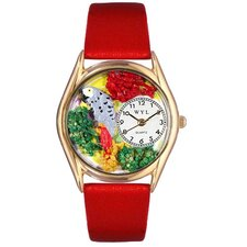 <strong>Whimsical Watches</strong> Women's African Gray Parrot Green Leather and Gold Tone Watch