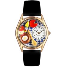 Women's Gourmet Black Leather and Gold Tone Watch