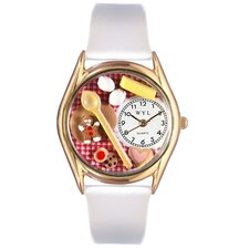Women's Baking White Leather and Gold Tone Watch