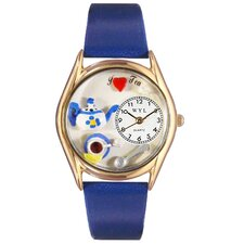 Women's Tea Lover Royal Blue Leather and Gold Tone Watch