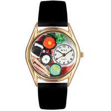 Women's Sushi Black Leather and Gold Tone Watch