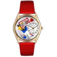 <strong>Whimsical Watches</strong> Women's Scrapbook Red Leather and Gold Tone Watch