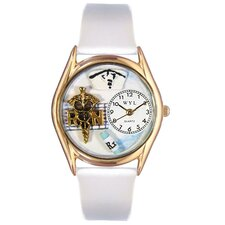 Women's RN White Leather and Gold Tone Watch