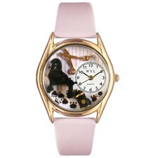 <strong>Whimsical Watches</strong> Women's Dog Groomer Pink Leather and Gold Tone Watch