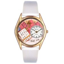 Women's John 3:16 White Leather and Gold Tone Watch