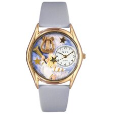 Women's Angel with Harp Baby Blue Leather and Gold Tone Watch