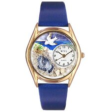 Women's Footprints Royal Blue Leather and Gold Tone Watch