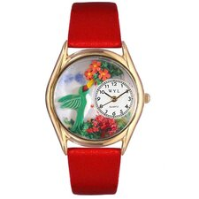 <strong>Whimsical Watches</strong> Women's Hummingbirds Red Leather and Gold Tone Watch