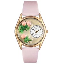 Women's Roses Pink Leather and Gold Tone Watch