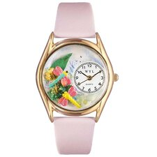 Women's Dragonflies Pink Leather and Gold Tone Watch