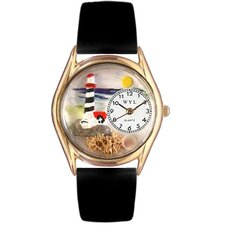 Women's Lighthouse Black Leather and Gold Tone Watch