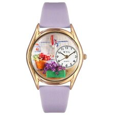 Women's Gardening Lavender Leather and Gold Tone Watch