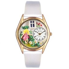 <strong>Whimsical Watches</strong> Women's Daisy Fairy White Leather and Gold Tone Watch