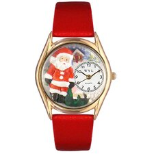 Women's Christmas Santa Claus Red Leather and Gold Tone Watch