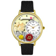 Unisex Pomeranian Black Skin Leather and Gold Tone Watch