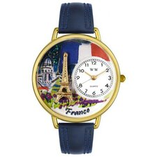 Unisex France Navy Blue Leather and Gold Tone Watch