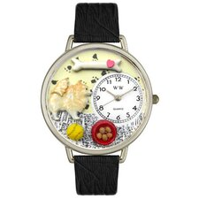Unisex Pomeranian Black Skin Leather and Silver Tone Watch