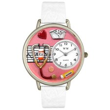 Unisex Nurse Red White Skin Leather and Silver Tone Watch