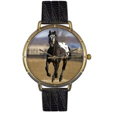 Unisex Appaloosa Horse Photo Watch with Black Leather