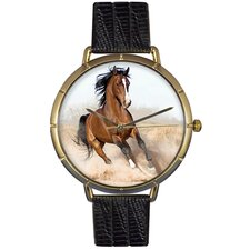 Unisex Arabian Horse Photo Watch with Black Leather