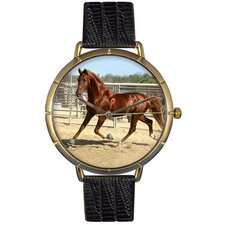 Unisex American Saddlebred Horse Photo Watch with Black Leather