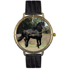 Unisex Friesian Horse Photo Watch with Black Leather