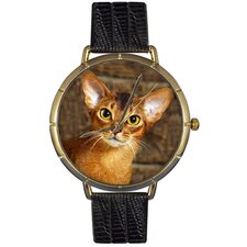 Unisex Abyssinian Cat Photo Watch with Black Leather