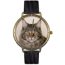 Unisex Maine Coon Cat Photo Watch with Black Leather