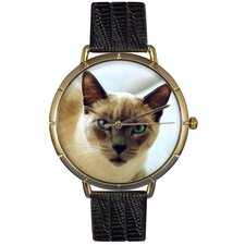 Unisex Siamese Cat Photo Watch with Black Leather