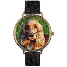 Unisex Cocker Spaniel Photo Watch with Black Leather