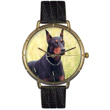 Unisex Doberman Photo Watch with Black Leather
