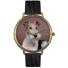 Unisex Fox Terrier Photo Watch with Black Leather