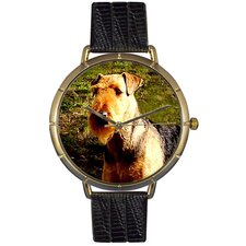 Unisex Airedale Terrier Photo Watch with Black Leather