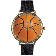 Unisex Basketball Lover Photo Watch with Black Leather