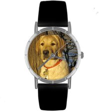 Unisex Yellow Labrador Retriever Photo Watch with Black Leather
