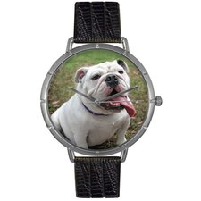 Unisex Bulldog Photo Watch with Black Leather